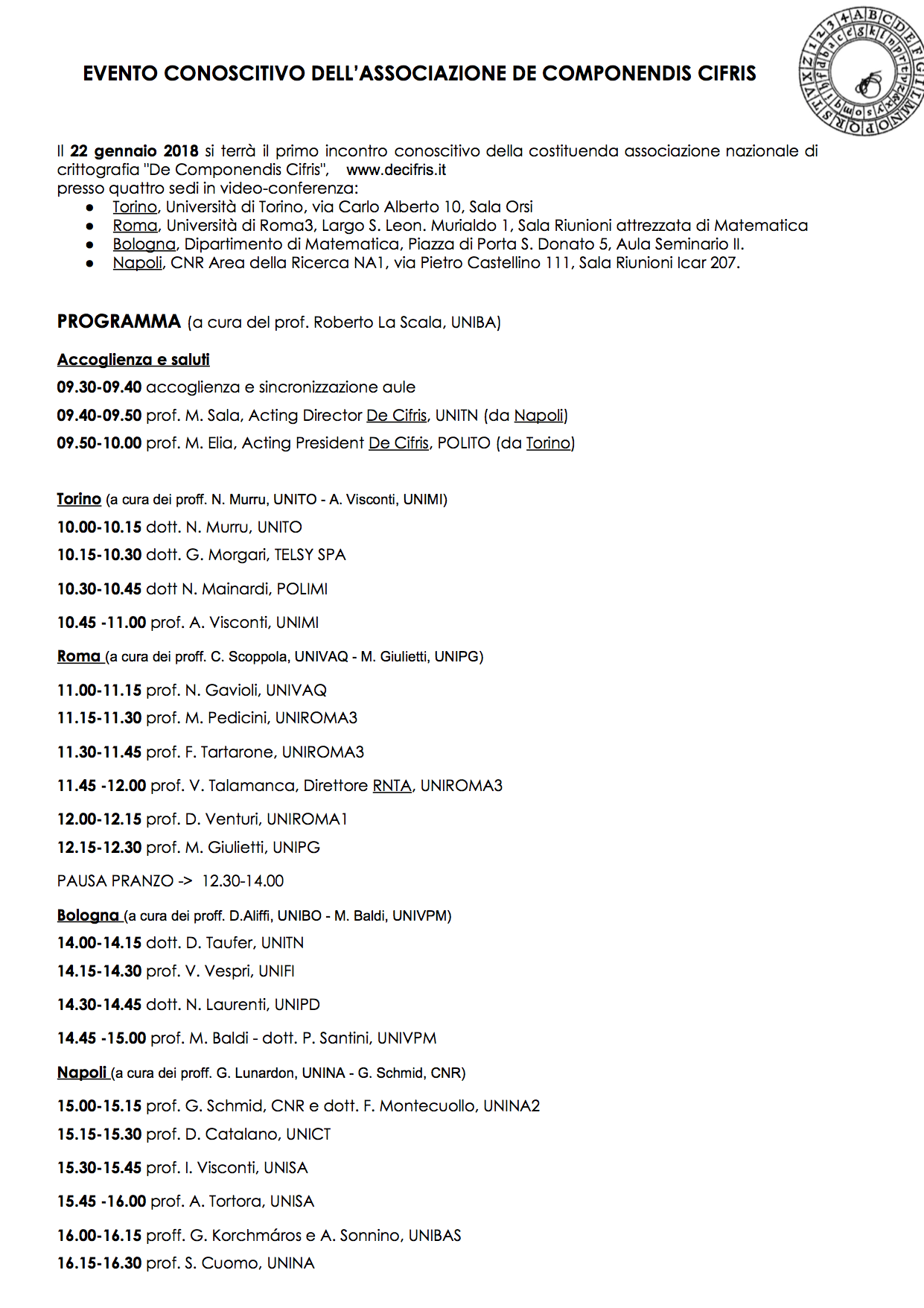 Locandina Evento DeCifris 22.01.2018