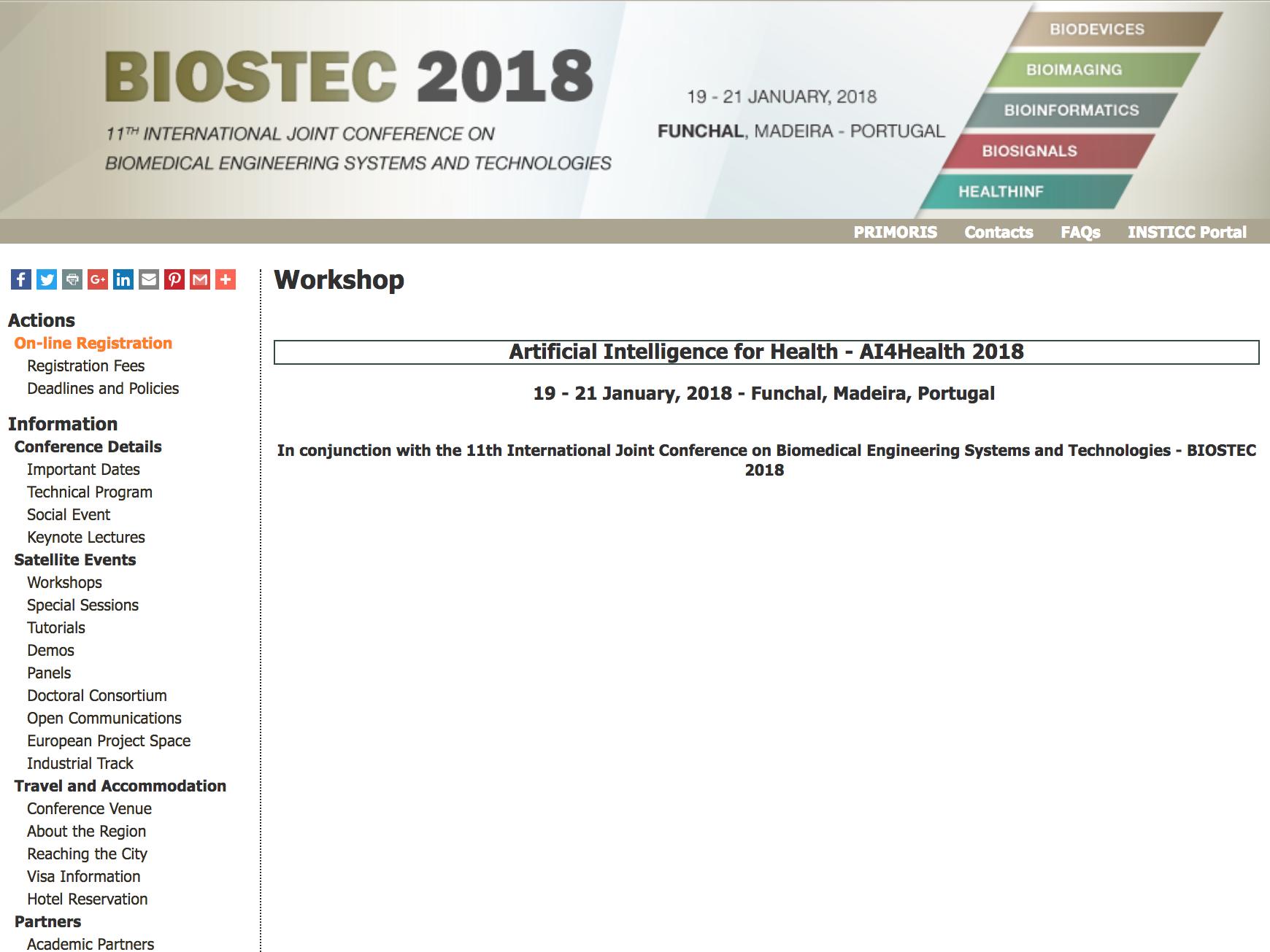 International Workshop On Artificial Intelligence For Health (AI4Health)