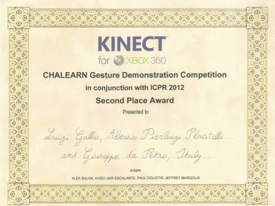 Second Place Award – ChaLearn Gesture Demonstration Competition @ ICPR 2012