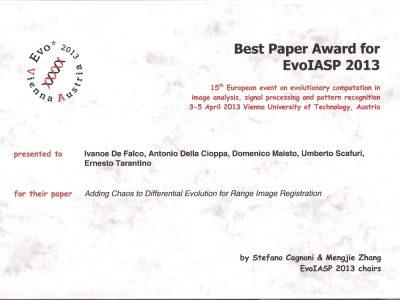 Miglior Articolo @ EvoIASP 2013