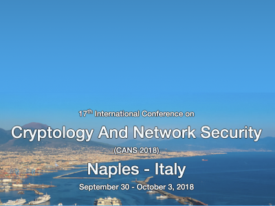 17th International Conference On Cryptology And Network Security (CANS 2018)