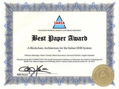 Best Paper Award – Healthinfo 2019