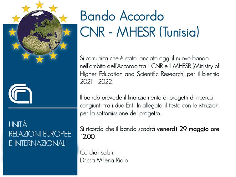 Bando Cnr – MHESR (Tunisia). Programma Di Attività Per Il Biennio 2021-2022