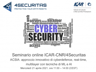 ICAR-CNR / 4Securitas Webinar  ACSIA: Innovative Cyber Defense Approach, Real-time, Multilayer With ML And AI Techniques
